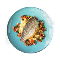 Pan-Fried Bream with Crushed New Potatoes and Sweet Tomato Salsa