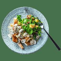 Pan-Fried Turkey Steak with Mushroom Sauce and Pancetta Roasties