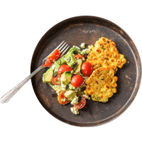 Sweetcorn Fritters with Avocado, Tomato & Feta Salad