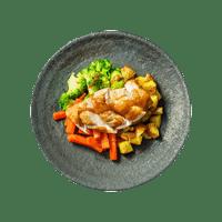 Crispy Roast Chicken with Mini Roasties, Veggies and Gravy