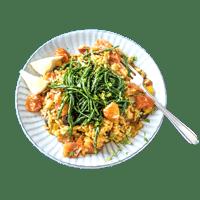 Tasteology Paella with Veggies, Samphire and Olives