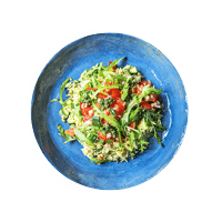 Homemade Rocket Pesto Orzotto with Charred Courgettes and Tomato Salad
