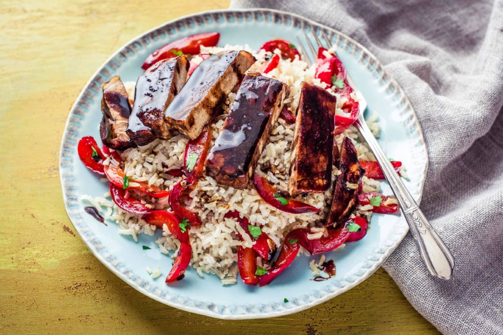 Tamarind Glazed Pork with Stir Fried Peppers and Fragrant Basmati Rice