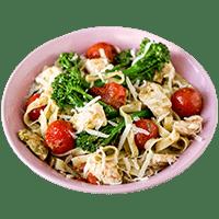 Fettuccine Pesto Chicken with Broccoli & Cherry Tomatoes