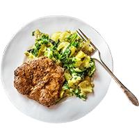 Honey Mustard Lamb with Minted Popeye Potato Salad
