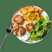 Salmon Cakes with Sweet Potato Thins & Dill Yoghurt