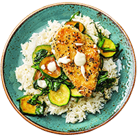 Sesame Crusted Chicken with Garlic & Ginger Rice