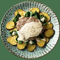 Steak with Crispy Potatoes, Garlic Spinach & Mustard Sauce