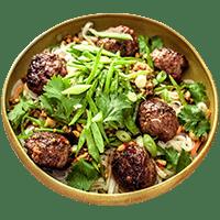 Sticky Pork Meatballs with Crunchy Cashews