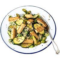Teriyaki Garden Bowl with Black Sesame Seeds