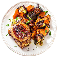 Honey Mustard Chicken with Baked Vegetables