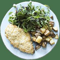 Mozzarella & Pesto Crusted Chicken with Roasted Potatoes