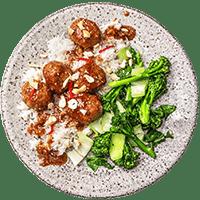 Sesame-Hoisin Meatballs with Garlicky Greens & Jasmine Rice