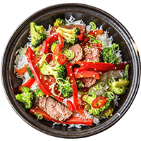 Warm Teriyaki Beef with Broccoli Jasmine Rice & Sesame Seeds