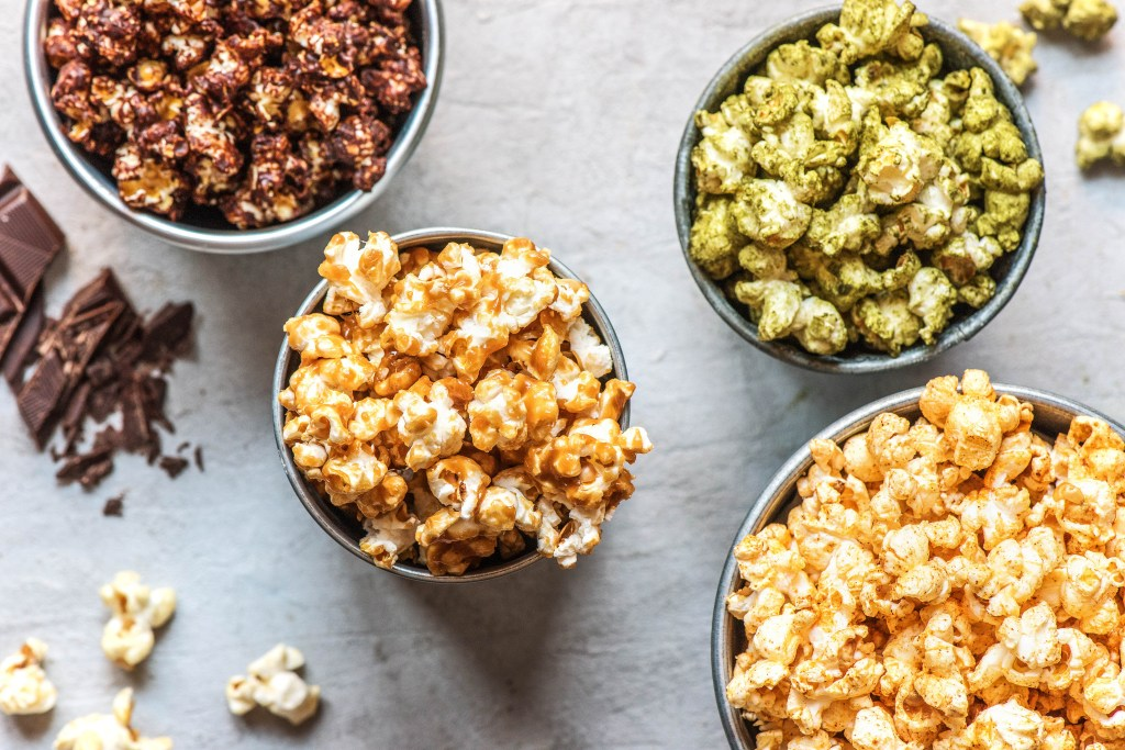 flavored popcorn-chocolate-salted-caramel-matcha-cinnamon-sugar-recipes-HelloFresh
