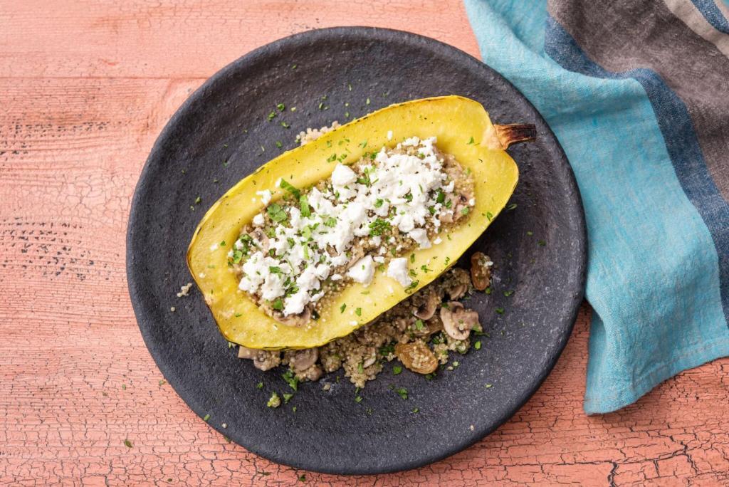 cilantro recipes-reservation-in-HelloFresh-quinoa-stuffed-squash-boat