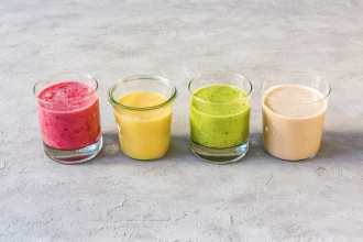 different colored tahini smoothies-HelloFresh