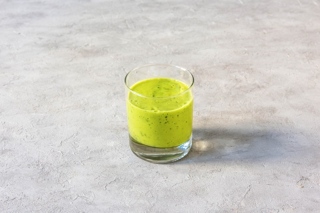 different colored tahini smoothies-spinach-avocado-recipe-HelloFresh