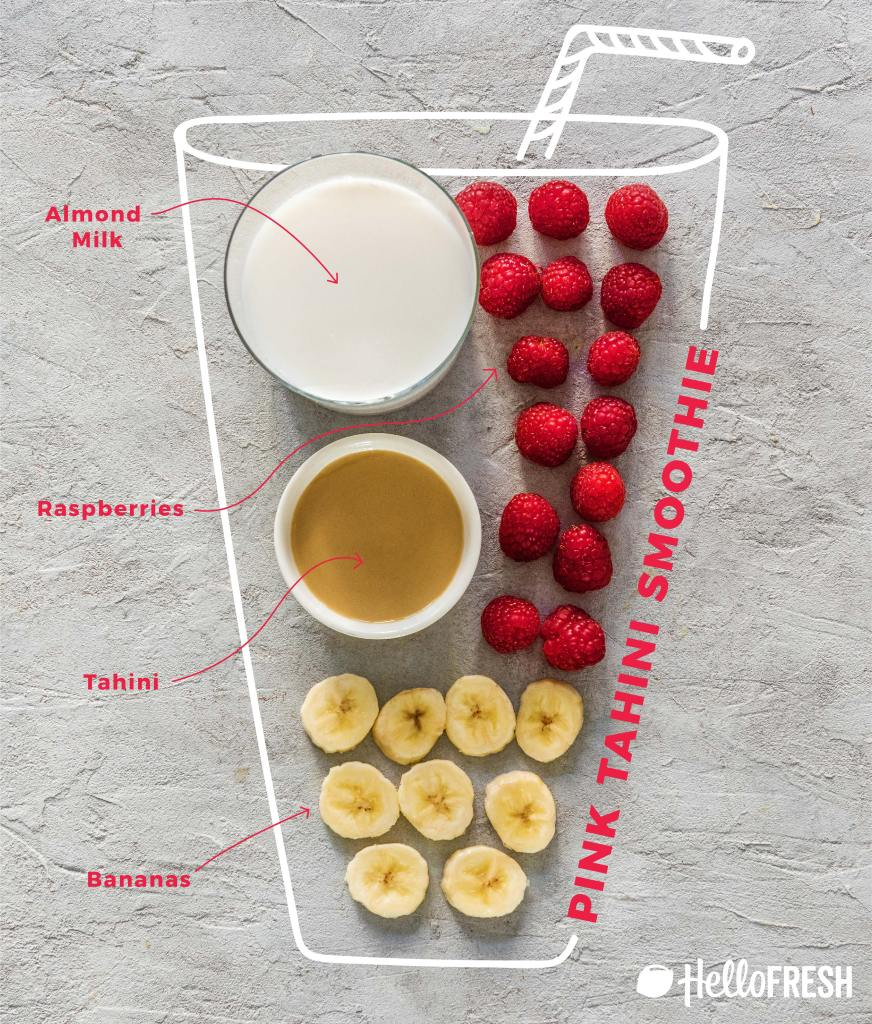 different colored tahini smoothies-raspberry-banana-recipe-infographic-HelloFresh