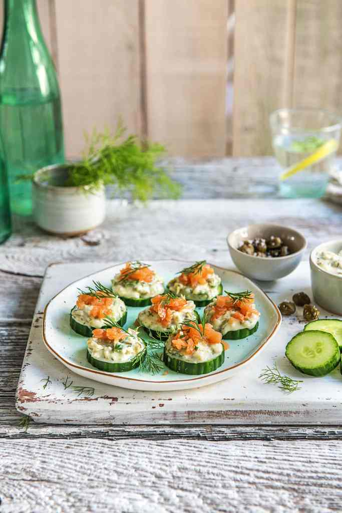 how to serve smoked salmon-recipe-cucumber-brie-bites-HelloFresh