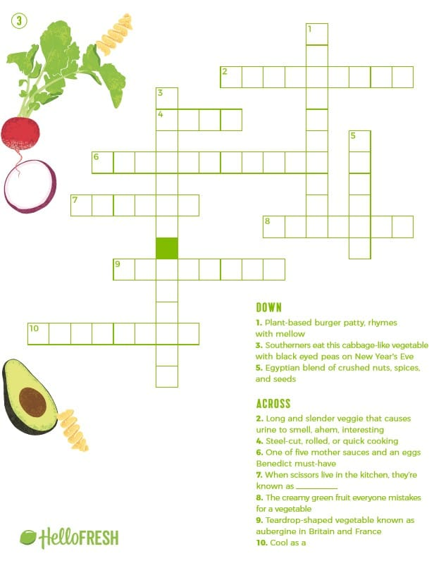 Crossword Puzzles Printable HelloFresh