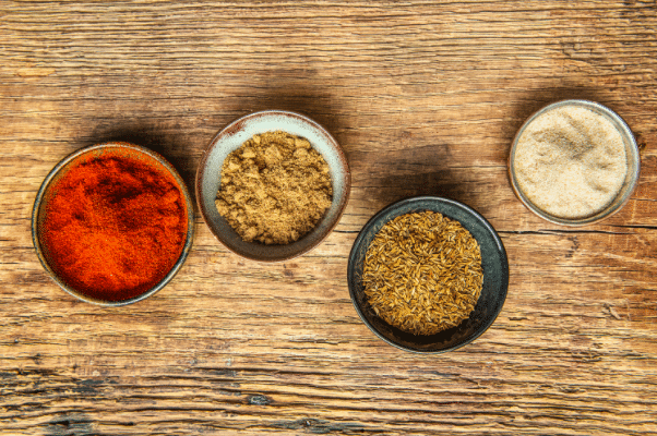 Herbs and Spices-HelloFresh-Garlic Powder-Paprika-Cumin-Coriander