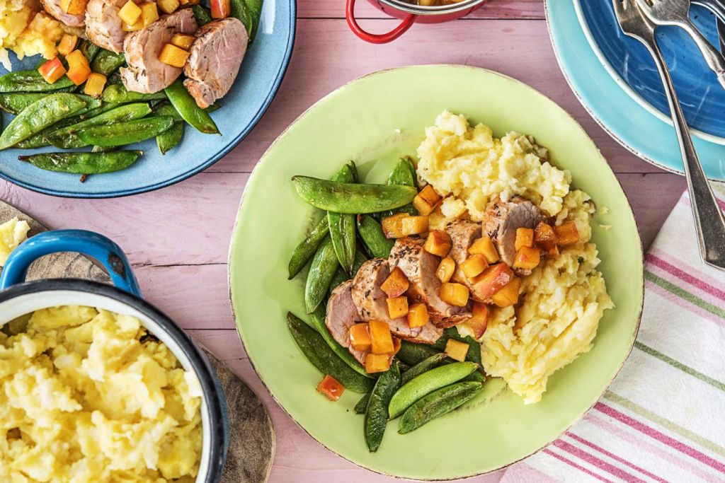 sweet and savory-apple-pork-tenderloin-potato-cauliflower-mash-snow-peas-HelloFresh