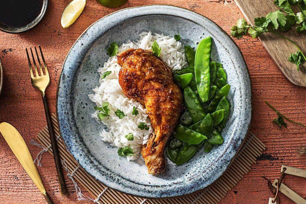 sweet and savory-thai-lemongrass-chicken-legs-snow-peas-honey-HelloFresh