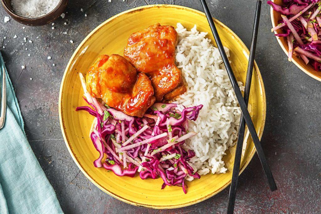 easy korean recipes-chicken-thighs-kimchi-sauce-HelloFresh