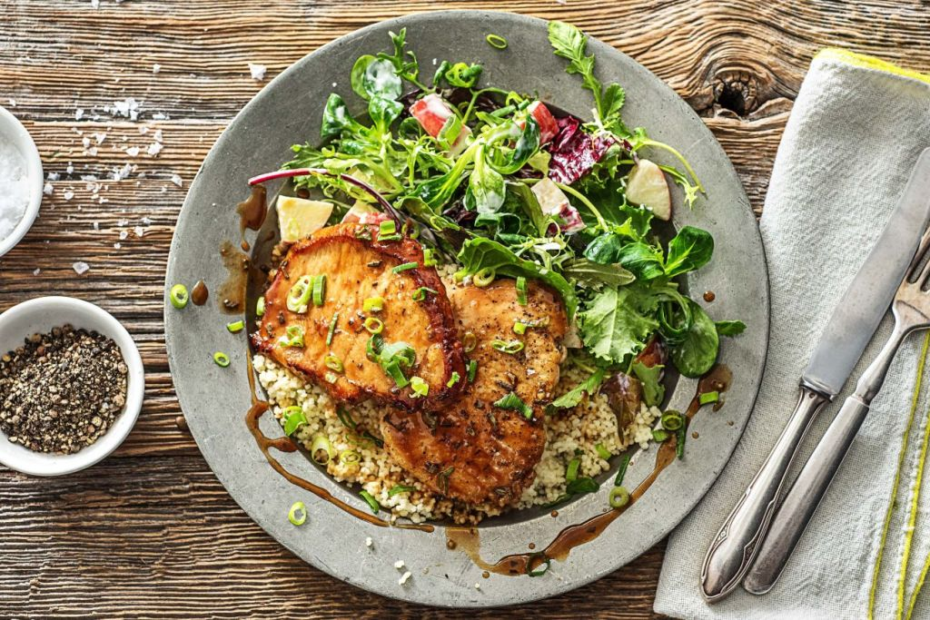 quick and easy recipes-20-minute-meals-HelloFresh-maple-rosemary-glazed-pork-cutlets