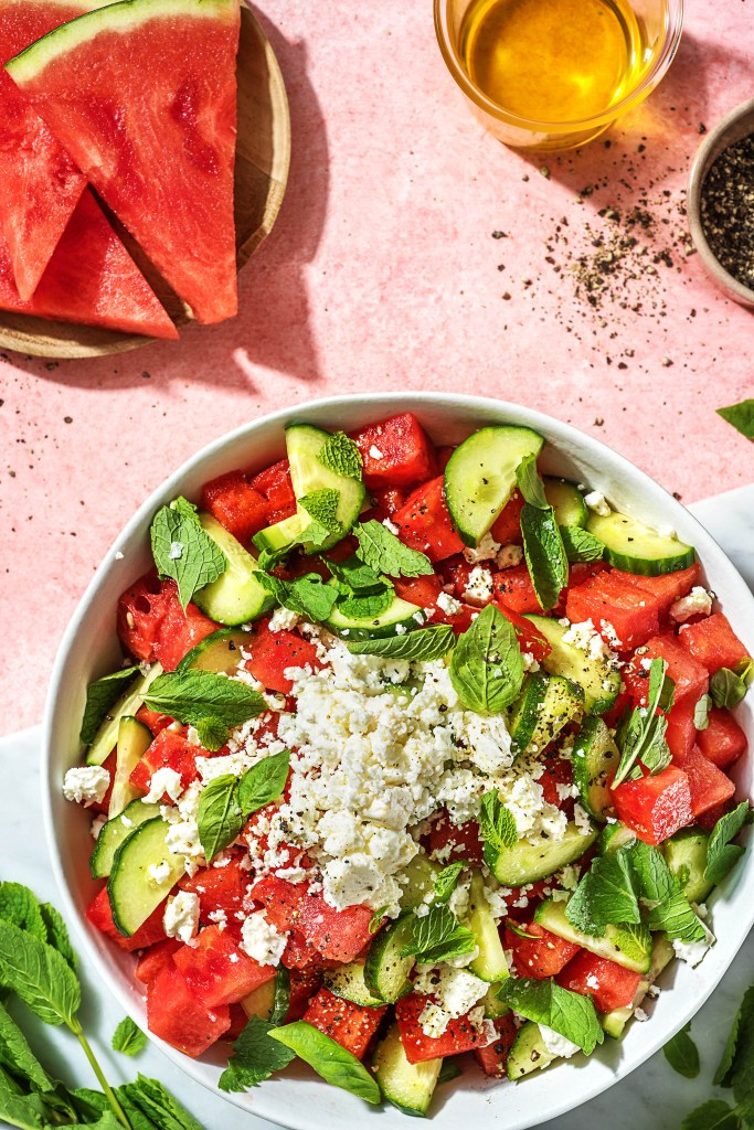 watermelon recipes-HelloFresh-cucumber-watermelon-salad