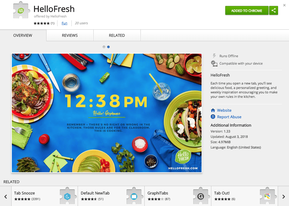 HelloFresh Chrome Plugin