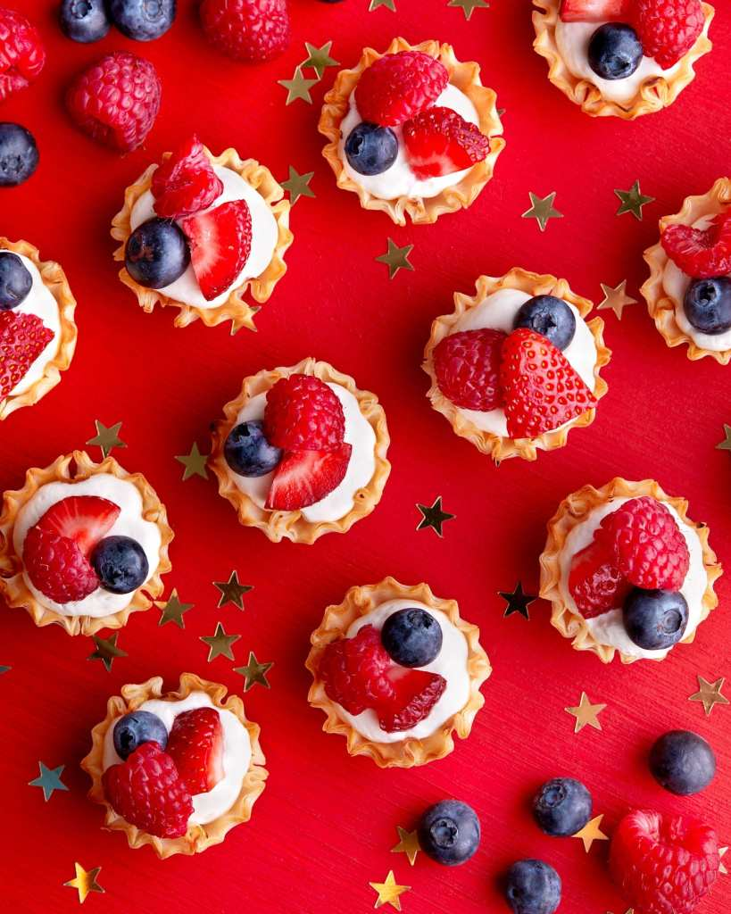 Red White and Blue recipes no cook tartlets