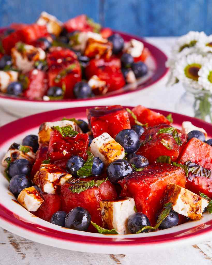 Red White and Blue recipes watermelon salad