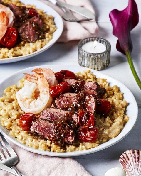 date night dinner Bavette Steak and Shrimp