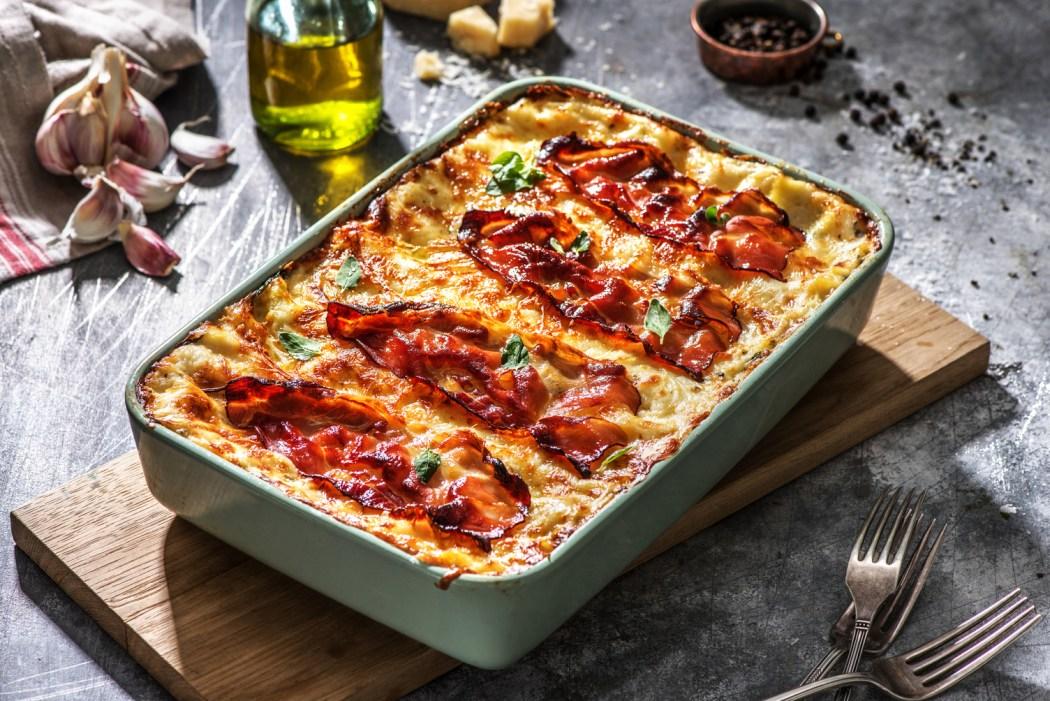 Krokante witte lasagne met prosciutto