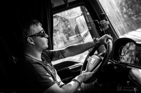A truck driver driving in his truck who took me along from Berlin to Hamburg