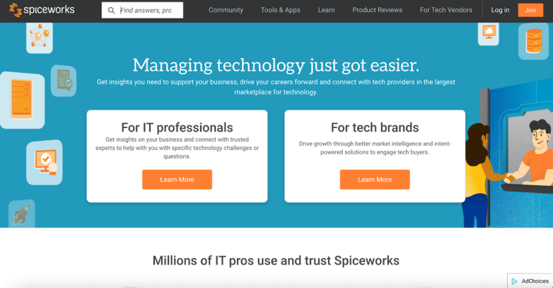 The Spiceworks homepage