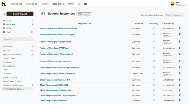 HelpSpot's email help desk software Request Responses
