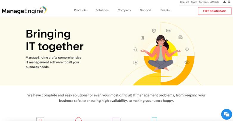 ManageEngine homepage: Bringing IT together.