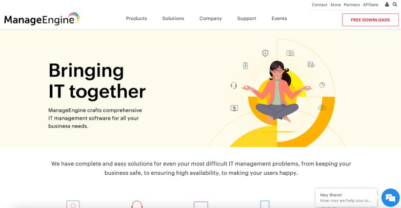 ManageEngine homepage