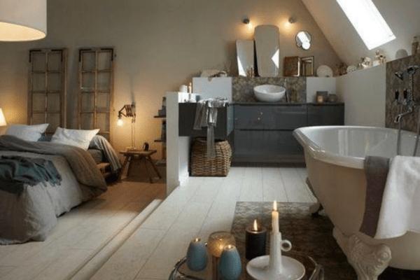 salle de bains dans une chambre baignoire