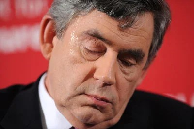 "Britain's Prime Minister Gordon Brown attends a meeting in Stratford, east London where he spoke with local Labour Party activists on June 7, 2009. Gordon Brown today sought to face down his critics, vowing that he would not ""walk away"" in the face of political and economic difficulties. Addressing Labour activists in East London he pledged to push on with measures to tackle the recession and clean up Parliament."