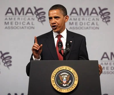 President Barack Obama addresses the American Medical Association's annual meeting on June 15, 2009 in Chicago. Obama's speech to the AMA is his latest effort to persuade skeptics that his health care plan is worth the expected high cost.