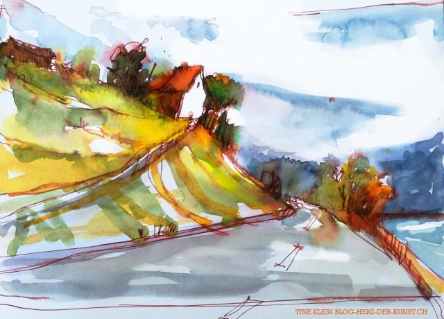 Blick auf den Weinberg bei Stäfa skizze von Tine Klein