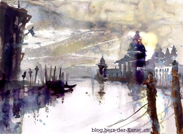 Tine Klein Venedig, Aquarell, Tutorial malen lernen und die Farbwirkung von weiß.