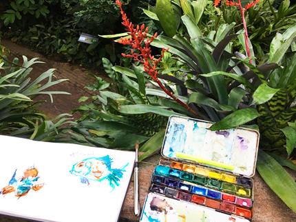 Botanischergarten , Tine Klein, Spaziergang mit Stift