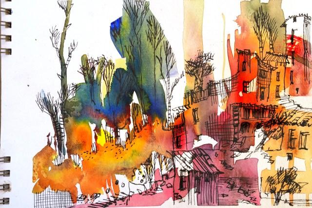 Anleitung, Tutorial malen lernen von Tine Klein für Aquarell, Skizzenbuch, Mallerei, Urban Sketching Ort: Rivert, Spanien