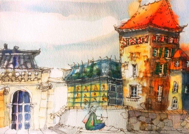 Urban Sketching Malen lernen, Zeichnen lernen , Aquarell, Aarau, Schweiz,Motiv