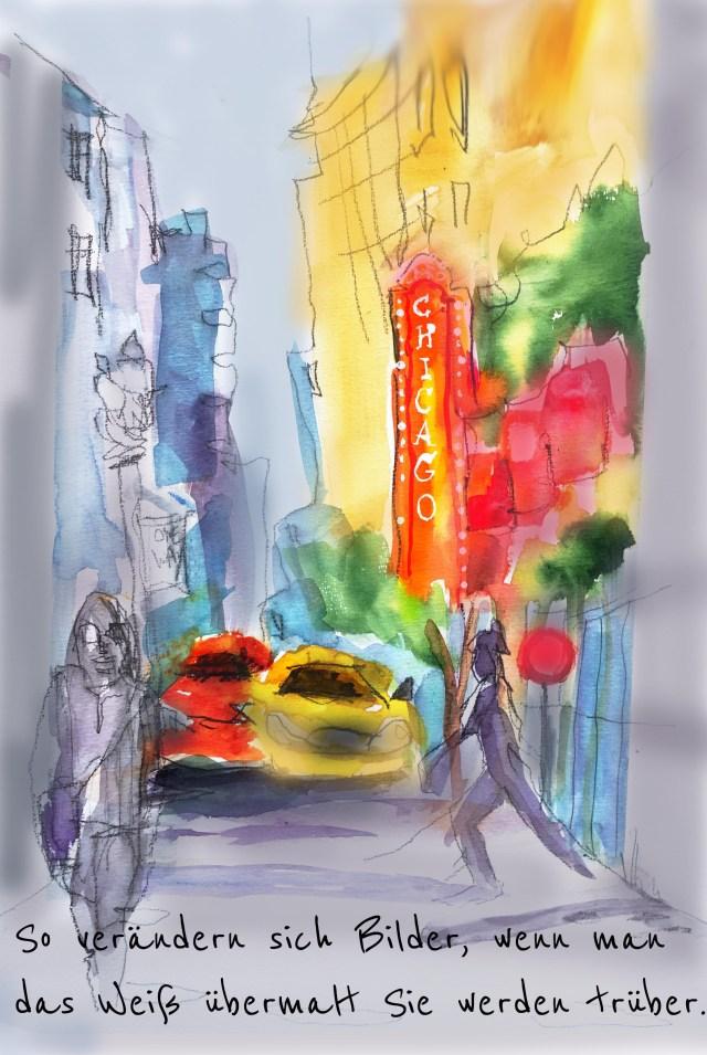 Urban Sketching Malen lernen, Zeichnen lernen , Aquarell, chicago, usk negativ Beispiel